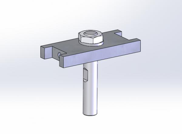 Drawing of gray spring mounting block